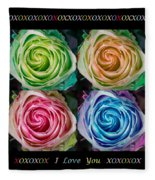 Colorful Rose Spirals With Love Fleece Blanket