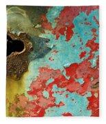 Colorful Rusty Door Fleece Blanket