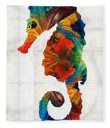 Colorful Seahorse Art By Sharon Cummings Fleece Blanket