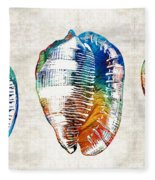 Colorful Seashell Art - Beach Trio - By Sharon Cummings Fleece Blanket