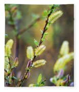 Spring Pussy Willows Fleece Blanket