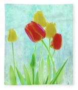 Colorful Spring Tulip Flowers Fleece Blanket