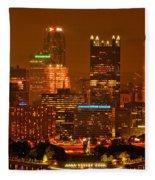 Colorful Summer Night In Pittsburgh Fleece Blanket