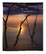 Colorful Sunset Seascape With Tree Trunks Fleece Blanket