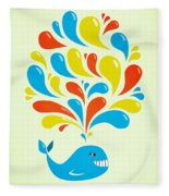 Colorful Swirls Happy Cartoon Whale Fleece Blanket
