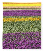 colorful tulips in Holland Fleece Blanket