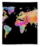 Colorful Watercolor World Map Fleece Blanket