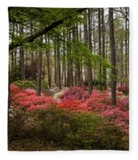 Colorful Woodland Azalea Garden Fleece Blanket
