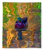 Colorful World Of Wood Duck Fleece Blanket