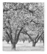 Colorless Cherry Blossoms Fleece Blanket