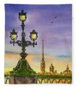 Colors Of Russia Bridge Light In Saint Petersburg Fleece Blanket