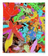 Coloured Leaves By M.l.d. Moerings  2009 Fleece Blanket