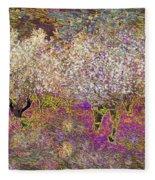 Colourful Almond Trees Fleece Blanket