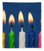 Colourful Candles Lit Fleece Blanket