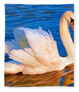 Colourful Swan Fleece Blanket