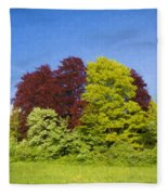 Colourful Trees Fleece Blanket