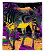 Colourful Zebras  Fleece Blanket
