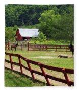 Colts On A Farm Fleece Blanket