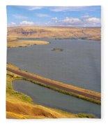 Columbia River In Oregon, Viewed Fleece Blanket