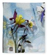 Columbine Blossom With Suminagashi Ink Fleece Blanket