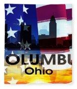 Columbus Oh Patriotic Large Cityscape Fleece Blanket