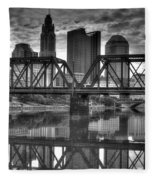 Columbus Ohio Downtown Bw Fleece Blanket
