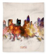 Columbus Painted City Skyline Fleece Blanket