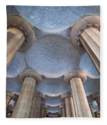 Columns And Domes Of Hypostyle Room In Park Guell Fleece Blanket