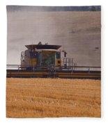 Combine Harvester And Cows Fleece Blanket