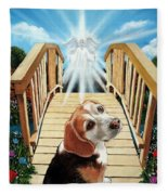 Come Walk With Me Over The Rainbow Bridge Fleece Blanket