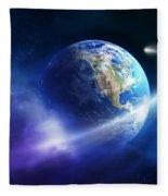 Comet Moving Passing Planet Earth Fleece Blanket