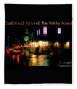 Comfort And Joy To All This Holiday Season - Corner In The Rain - Holiday And Christmas Card Fleece Blanket