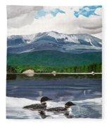 Common Loon On Togue Pond By Mount Katahdin Fleece Blanket