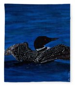 Common Loon Preening Fleece Blanket