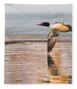 Common Merganser In Flight Fleece Blanket