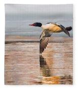 Common Merganser In Flight Square Fleece Blanket
