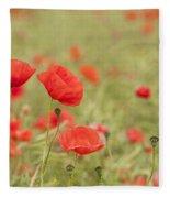 Common Poppies Fleece Blanket