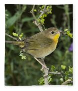 Common Yellowthroat Hen Fleece Blanket