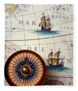 Compass And Old Map With Ships Fleece Blanket