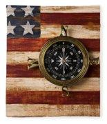 Compass On Wooden Folk Art Flag Fleece Blanket
