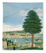Composite Harbor Scene With Castle Fleece Blanket