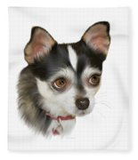 Computer Generated Portrait Of A Dog Fleece Blanket