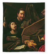 Concert With Musicians And Singers, C.1625 Oil On Canvas Fleece Blanket