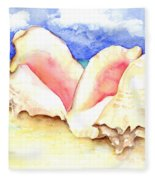 Conch Shells On Beach Fleece Blanket