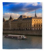 Conciergerie And The Seine River Paris Fleece Blanket