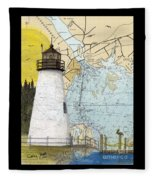 Concord Pt Lighthouse Md Nautical Chart Map Art Cathy Peek Fleece Blanket