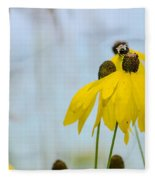 Coneflower And Bee 2  Fleece Blanket