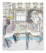 Coney Island Carousel Fleece Blanket