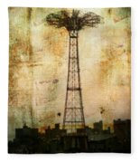 Coney Island Eiffel Tower Fleece Blanket