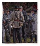 Confederate Civil War Reenactors With Rebel Confederate Flag Fleece Blanket